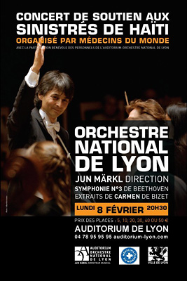 photo affiche concert ONL orchestre national de Lyon auditorium sinistrés Haïti tremblement de terre