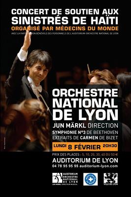 photo affiche concert ONL orchestre national de Lyon auditorium sinistrés Haïti tremblement de terre