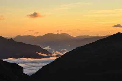 photo montagne alpes randonnée GR5 col croix bonhomme coucher soleil