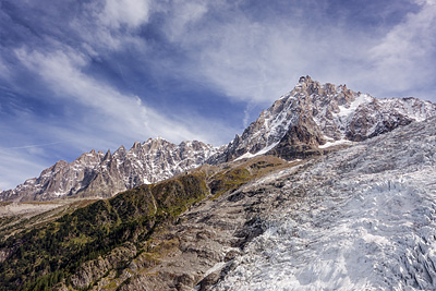 photo montagne alpes chamonix mont blanc jonction glacier bossons taconnaz