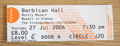 Londres Concert Barbican Center ticket