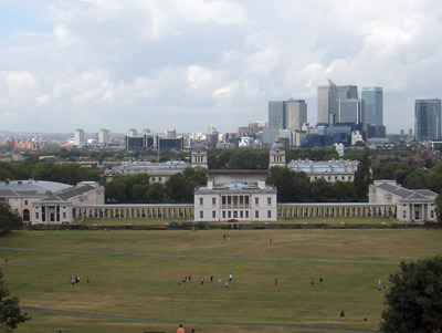 Londres Greenwich Vue depuis observatoire Old Royal Naval College Docklands Canary Wharf