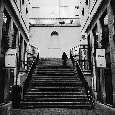 photo rolleiflex lyon croix rousse escaliers