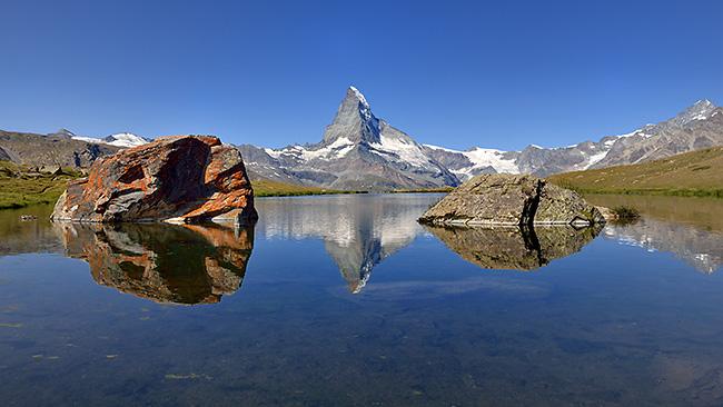 photo montagne alpes randonnée suisse valais zermatt lac stellisee cervin matterhorn