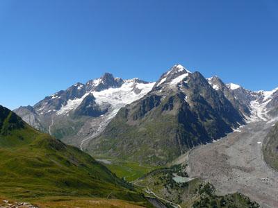 photo montagne alpes randonnée tour du mont blanc tmb kora glacier lée blanche miage